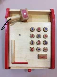 Wooden children cash register