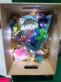 Dino Ice bear baby breaths flower bouquet set + fairy lights (we bare bears)