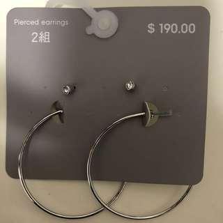 Hoop and studs earrings. Brand new