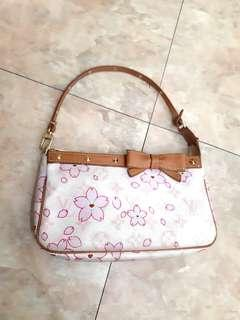 AUTHENTIC LOUIS VUITTON CHERRY BLOSSOM POCHETTE BAG - GOOD CONDITION, CLEAN INTERIOR- (BOUGHT AROUND RM 3500+) - RM 655