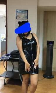 SEXY BLACK FAUX LEARHER DRESS Zip Up Cat Woman Costume