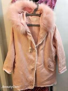粉紅牛仔毛毛外套