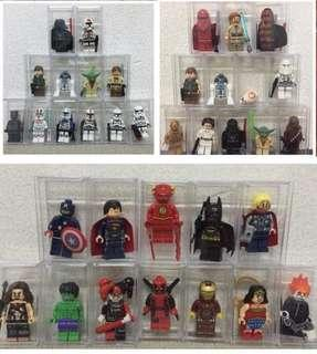 Minifigs with acrylic box each