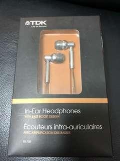 TDK 銀色3.5mm入耳式耳機 headphone with bass
