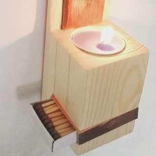 Tempat lilin dan korek api candle holder