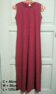 Maroon Polkadot Casual Dress
