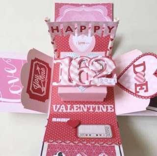 Happy valentine day red and pink Explosion box card