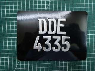 Motorcycle number plate - Europe font