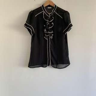 Sheer black ruffle top