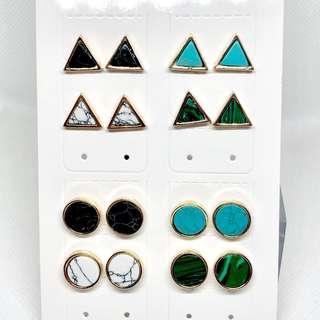 耳環💙全新雲石款 圓形三角形(18)