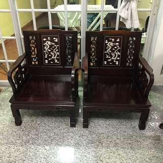 Rosewood Chinese Armchairs (1 Pair)