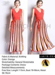 Orange knit dress (JAN19-024)