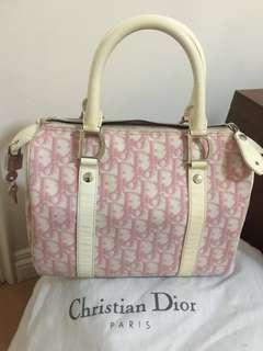 Christian Dior pink logo small Boston bag