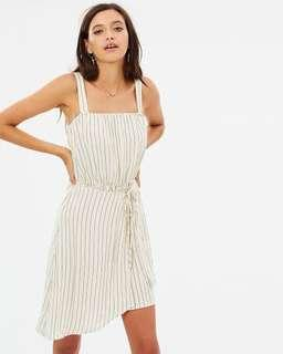 vertical stripe wrap dress