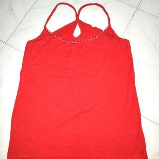 Red X Back Spaghetti Top fits Size S