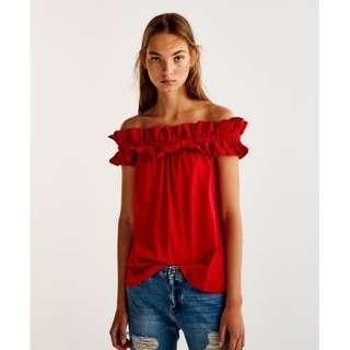 [SALE] Pull & Bear Smoked Off Shoulder Frills Top - Red