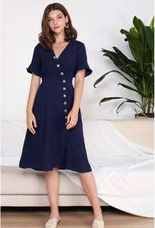 TWL Navy Slanted Buttons Maxi Dress