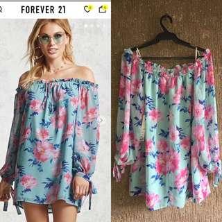 FOREVER 21 floral off shoulder mini dress/long top