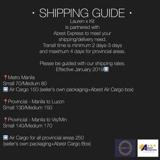 Shipping Guide as of Jan 2019