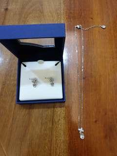 Swarovski set earring and necklace 100% Authentic