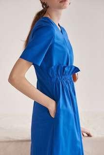 🚚 BNWT Knits Capsule Waist Gathered Midi Dress in Cobalt Blue