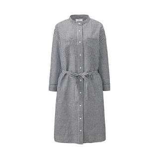 🚚 Uniqlo Linen Gingham Shirt Dress with Mandarin Collar