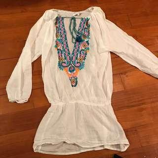 Summer top or Beach coverup with embroidered detail