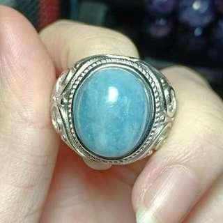海蓝宝戒指(指环可调大小)Aquamarine Ring (Adjustable Size)