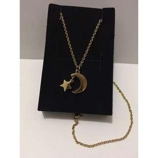 Holy Land Mall Gold Moon & Star Necklace