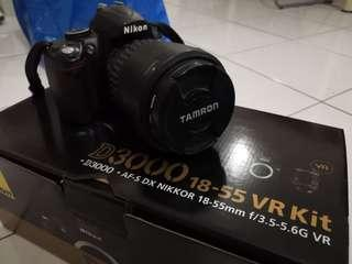 Nikon D3000 with Tamron SP AF17-50mm and tripod