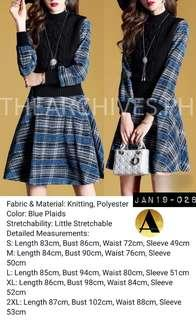 Blue Plaid Knit Dress (JAN19-028)