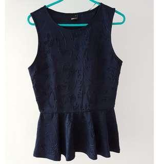 Blue ruffle top with embossed patterns
