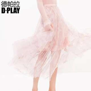 <New> Pastel Pink Tulle Skirt with Floral Design