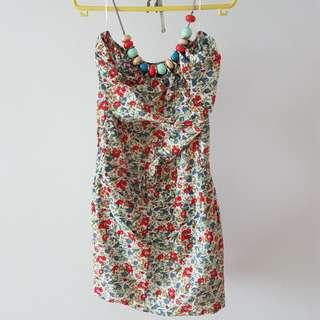 Floral halter dress with beads