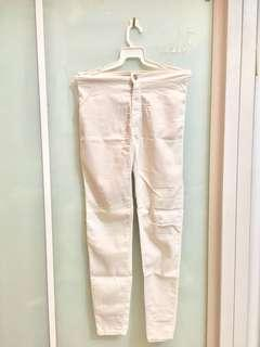 Bershka Skinny pants (White/Red)