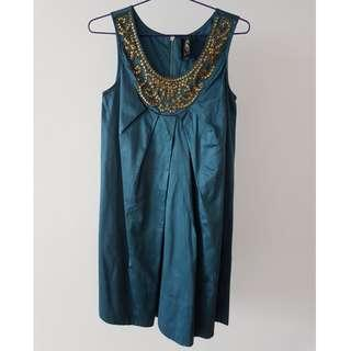 Royal teal dress with golden embellishment (silk)