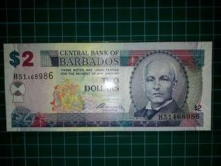 [America] Barbados $2 Dollars Old Paper Note (2007 Series)