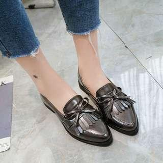 Metallic gray leather loafers