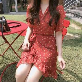#183 red ruffled floral wrap dress