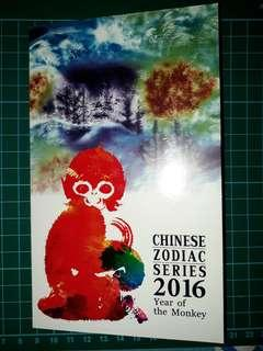 [Oceania] Australia $2 Lunar Dollars Chinese Zodiac Series (Year of the Monkey) Silver Reserve Of The Moon Commemorative Note Original Book (2016 Series)