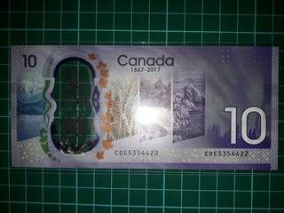 [America] Canada $10 Dollars Commemorative Polymer Note 150th Anniversary of National Independence (1867-2017) - 2017 Series