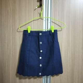 BN Scallop Button Down Denim Skirt