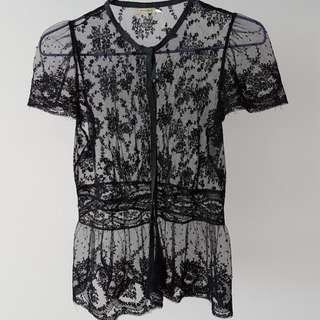 Max Studio black lace-y top