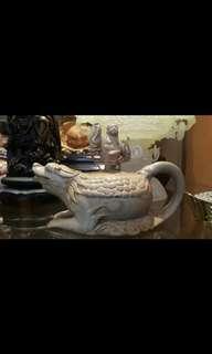🚚 石茶壺 木紋石 劉海戲金蟾 稀有