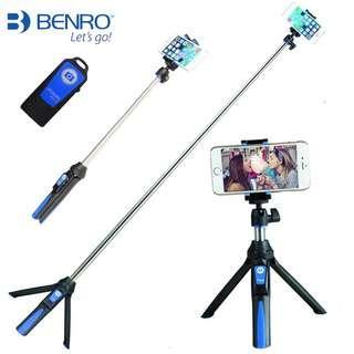 Benro MK10 Handheld Mini Tripod For Smartphone 3 in 1 Self Portratit Monopod Selfie Stick with Bluetooth Remote Shutter