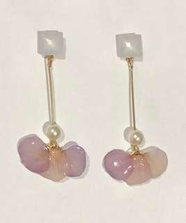 Handmade real flowers earrings