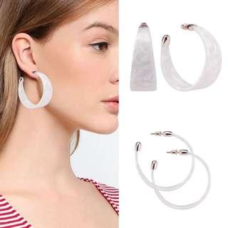 Auth💯River Island Milky Enemel Hoops ( Retails at 1,200)