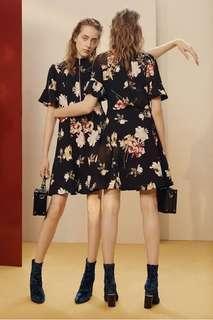 CUE Campaign Dress Black Floral Dress ~ size 6 ~ BNWT NEW