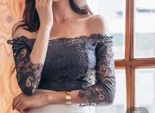 🚚 韓版ㄧ字領蕾絲透膚七分袖只穿一次