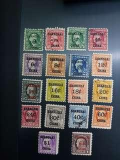 US Shanghai China full set stamps 1919-1922